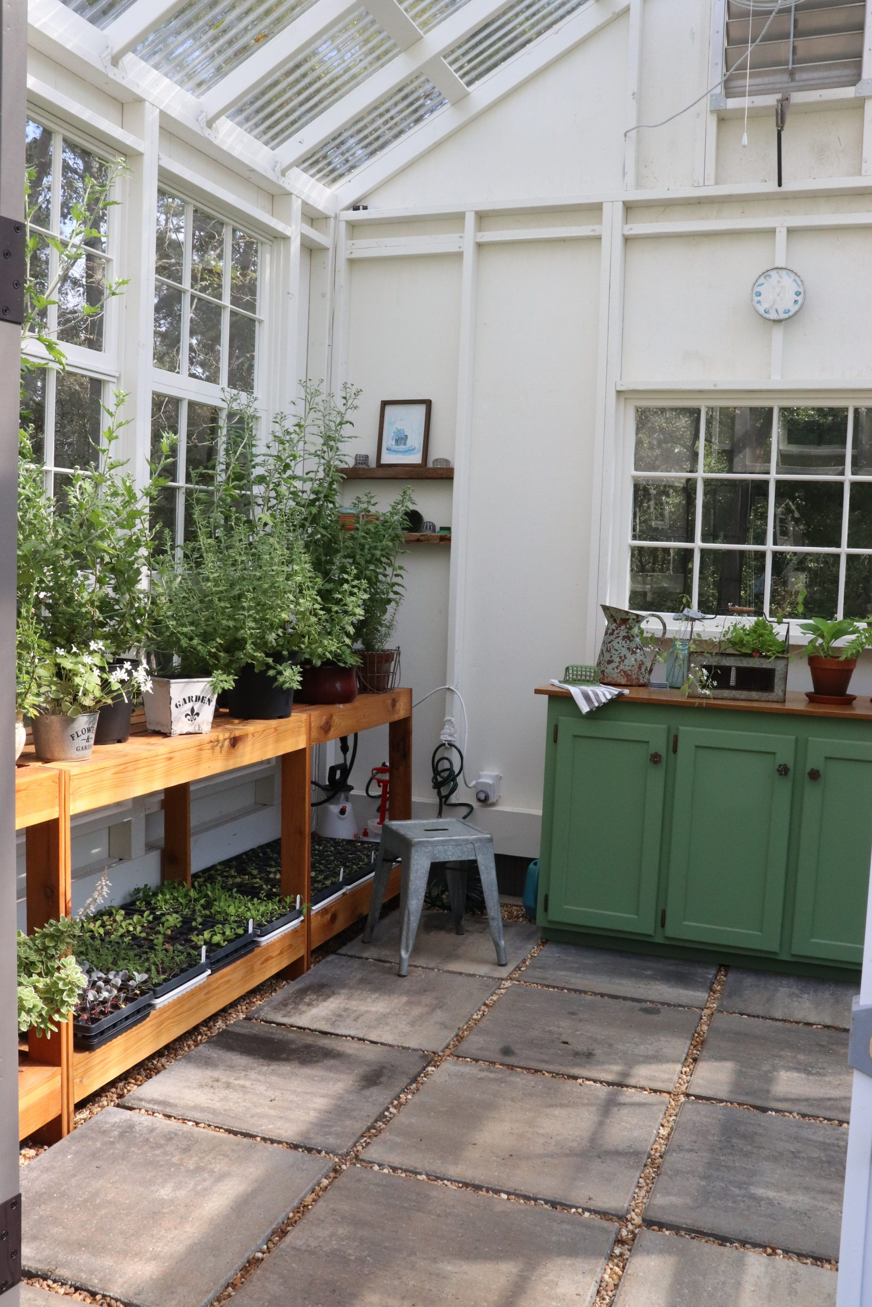 inside the she shed there are seedlings ready for planting in the cutting garden